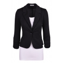 Basic Plain Long Sleeve Notch Collar Button Front Slim Fit Blazer for Women