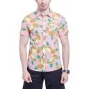 Mens Casual Floral Pineapple Lip Dot Print Short Sleeves Lapel Button Up Fitted Holiday Shirt