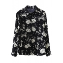 Chic Girls' Long Sleeve Lapel Neck Button Front Kitty Star Pattern Relaxed Fit Shirt