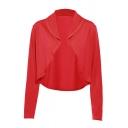 Chic Popular Ladies' Long Sleeve Shawl Collar Slim Fit Plain Open Front Draped Jacket