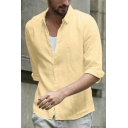 Street Fashion Long Sleeve Chest Pocket Button Up Loose Fit Plain Linen Shirt