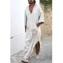 Retro Stripe Printed Half Sleeve Side Split Loose Fit White Linen Shirt Robe with Pocket