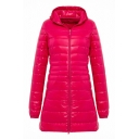 Casual Basic Long Sleeve Hooded Zipper Front Pockets Side Plain Relaxed Long Puffer Coat for Women