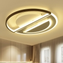 Acrylic Circle Led Flush Mount Contemporary Close to Ceiling Lighting in Black and White for Bedroom