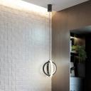 Metal Cross Ring Hanging Lamp Modernist Mini LED Suspended Lighting Fixture in Black, White/Warm Light