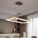 White/Coffee Rectangle Chandelier Light Contemporary LED Metal Ceiling Pendant Lamp in White/Warm Light, 23.5
