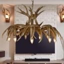 9 Heads Branch Chandelier Lamp Cottage Resin Pendant Light Kit in Brown for Bedroom