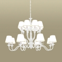 Metal White Chandelier Lamp Starburst 10/12/16 Bulbs Traditionary Pendant Light Fixture with Tapered Fabric Shade