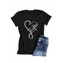 Casual Street Girls' Roll Up Sleeve Crew Neck Letter FAITH Loose Fit Cotton T-Shirt
