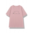 Preppy Girls' Short Sleeve Crew Neck Pig Printed Relaxed Fit T-Shirt