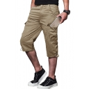 Summer Fashion Plain Side Pocket Loose Cropped Trousers Cargo Pants