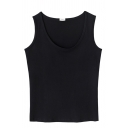 Female Simple Sleeveless Round Neck Cotton Plain Slim Fit Tank Top