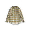 Casual Girls' Long Sleeve Neck Tied Button Down Plaid Pattern High Low Loose Shirt