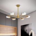 Sputnik Metal Pendant Chandelier Postmodern 6/8 Lights Gold Suspension Light in Warm/White Light