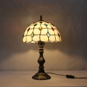 Beige Beaded Reading Lamp Tiffany 1 Head Stained Glass Standing Light for Bedroom