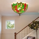 2/5 Heads Porch Ceiling Mounted Fixture Tiffany Bronze Flush Mount Lamp with Leaf Stained Glass