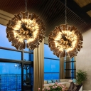 Clear Glass Burst Ceiling Chandelier with Floral Shade Nordic Multi Light Pendant for Entryway