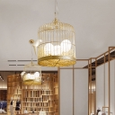 Champagne Gold Birdcage Hanging Light with Bird 3 Light Modern White Glass Suspension Light