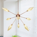 Amber/Clear Glass Diamond Chandelier Pendant Light 9/12/15-Head Hanging Fixture with Sputnik Design for Living Room