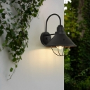 1 Light Sconce Light Fixture Vintage Cone Metal Wall Lighting in Black for Outdoor with Cage