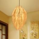 Teardrop Bamboo Hanging Lamp Modern 1 Light Beige Ceiling Pendant Light for Living Room