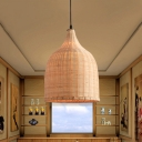 Basket Shaped Dining Room Suspension Pendant Light Bamboo 11