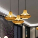 Asia Lantern Shaped Bamboo Suspension Pendant Light 1 Light Ceiling Lamp in Beige for Dining Room