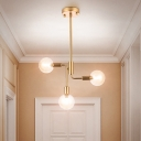 Gold Ball Semi Flush Light Fixture Modern 3 Lights Cognac Glass Semi Flush Mount Chandelier