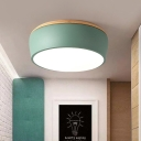 Drum Metal Ceiling Light Macaron White/Green/Pink LED Flush Mount Lighting in Warm/White Light
