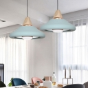 1 Head Dining Room Down Lighting Modernism Green/Blue Ceiling Pendant Light with Flared Metal Shade