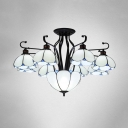 9 Heads Scalloped Ceiling Mounted Light Tiffany Blue/Yellow/Gray Seeded Glass Semi Flush Light