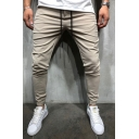 New Stylish Plain Drawstring Waist Slim Fit Casual Ankle Banded Pants for Men