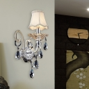 Crystal Flared Wall Mounted Lamp Retro 1/2 Heads Living Room Sconce Light Fixture in Chrome