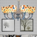 Cut Glass Domed Shade Chandelier Light Fixture Baroque 3/5/8 Lights White Down Lighting Pendant