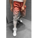 Men's Designer Ombre Color 3D Print Drawstring Waist Skinny Fit Stretchy Active Pants