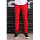 Mens Popular Solid Color Red Zipper Patchwork Crumple Detail Slim Fit Biker Jeans