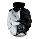 Creative Black and White Cats 3D Printed Long Sleeve Casual Pullover Hoodie