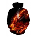 Guys Cool Fire Wolf 3D Printed Long Sleeve Black and Red Drawstring Hoodie