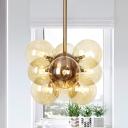 Modernist Spherical Amber/Frosted White Glass Pendant Chandelier 9 Bulbs Hanging Light Fixture