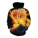 Orange Flame Heart 3D Pattern Long Sleeve Casual Drawstring Hoodie