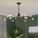 Bubble Pendant Chandelier Modernism Clear Glass 18 Bulbs Hanging Light Fixture in Black