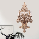 Traditional Candelabra Wall Mount Lamp 5 Lights Wood Sconce Light Fixture in Rust