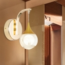 Ball Living Room Sconce Light Vintage Crystal LED Gold Wall Lighting Fixture with Metal Round Backplate
