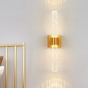 1/2-Head Bubble Crystal Wall Sconce Traditionalist Gold Linear Bedroom LED Wall Mounted Light