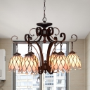 Stained Glass Flower Ceiling Chandelier Tiffany 6 Bulbs Black Suspension Lighting with Crystal Accent for Living Room