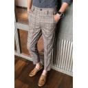 British Style Casual Plaid Pattern Zipper Fly Loose Suit Pants Ninth Pants for Men