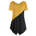 Women's Cozy Short Sleeve Round Neck Contrasted Asymmetric Hem Relaxed T Shirt