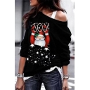 Fancy Casual Long Sleeve Drop Shoulder Letter JOY Santa Claus Pattern Loose Fit Pullover Christmas Sweatshirt for Female