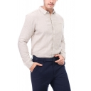 Men's Formal Solid Color Long Sleeves Button Down Regular Fit Linen Office Shirt
