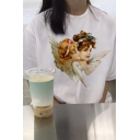 White Cute Angel Baby Pattern Short Sleeves Crewneck Summer Casual T-Shirt